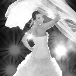 Fotoshooting Frau in Brautkleid mit Schleier
